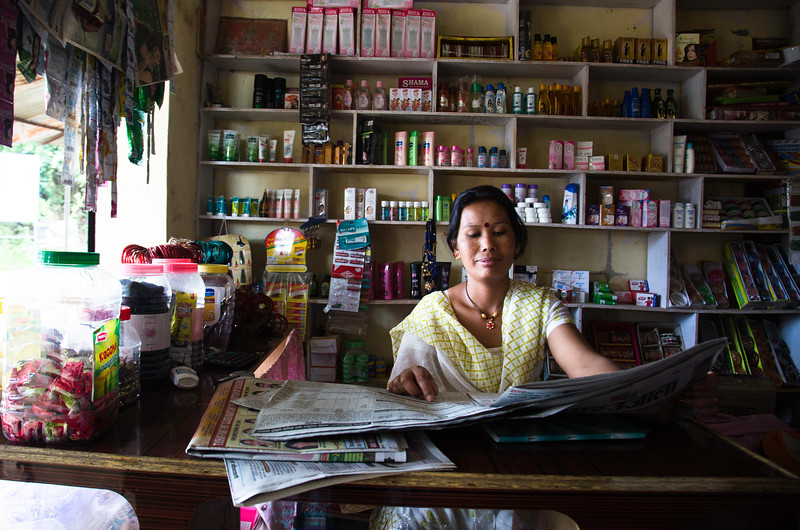 Laxmi, opened a small shop which sold small articles and trinkets required by women and toys and such articles. She received scholar-ship for the education of one of her kids and for the other one used her earnings.