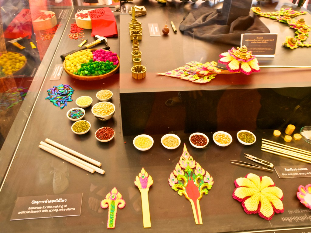 Exhibit of materials used to create flowers and other embellishments
