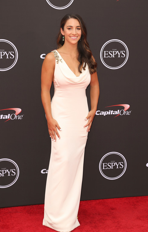 . Aly Raisman arrives at the ESPY Awards at Microsoft Theater on Wednesday, July 18, 2018, in Los Angeles. (Photo by Willy Sanjuan/Invision/AP)