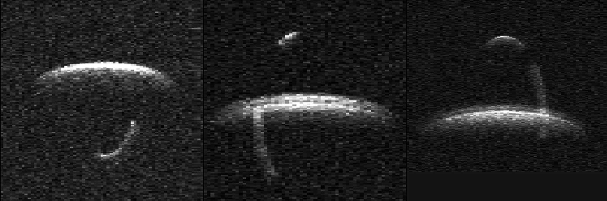 Description of . Astronomers captured this radar image of binary asteroid 1999 KW4 when the two space rocks passed within 3 million miles of Earth between May 23-25, 2001. The three frames show several-hour time exposures of a smaller moon, about one-quarter of a mile across, orbiting in a clockwise fashion a companion three times as large. The larger asteroid appears blimp-like because it is rotating faster than its smaller companion. Astronomers announced Wednesday, May 30, 2001, that the discovery of asteroid 1999 KW4 marks only the eighth time astronomers have successfully imaged an asteroid locked in an orbital embrace with a companion. (AP Photo/NASA Jet Propulsion Laboratory)