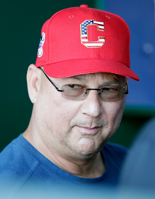 . Cleveland Indians manager Terry Francona watches batting practice from the dugout before a baseball game against the Kansas City Royals at Kauffman Stadium in Kansas City, Mo., Monday, July 2, 2018. (AP Photo/Orlin Wagner)