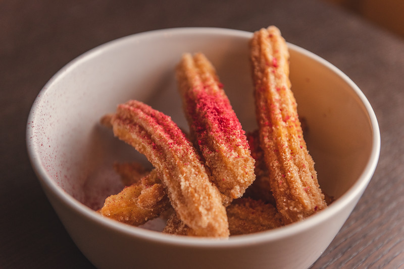 Churros with freeze dried raspberry