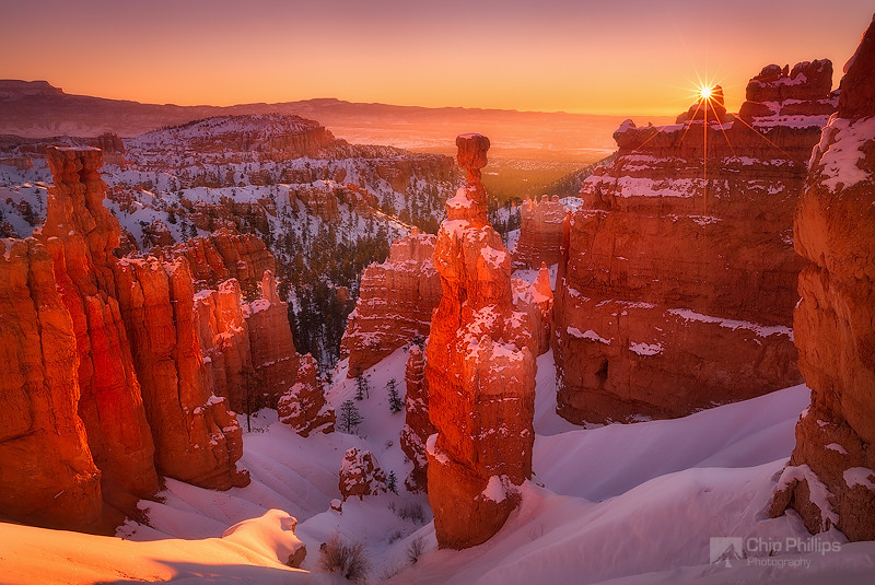"""""""Bryce Canyon Sunrise""""  First light over Bryce Canyon shot during winter. A very small aperture was used to capture the sun rays of the rising sun."""