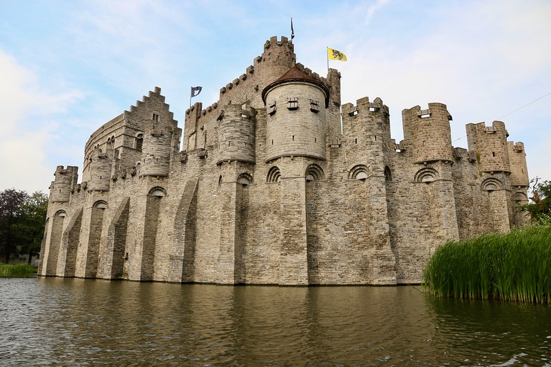 Gravensteen Castle from a canal boat tour - Ghent, Belgium