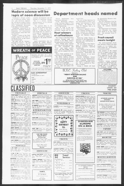 Daily Trojan, Vol. 64, No. 36, November 11, 1971