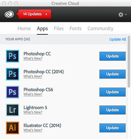Creative Cloud desktop app with 2014 updates