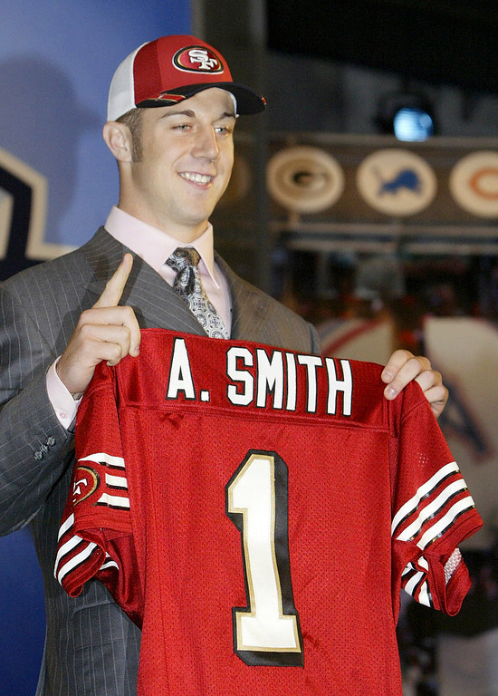 . Alex Smith, Utah Selected first overall by the 49ers in 2005 After several mediocre years bouncing between starter and backup, Smith burst out in 2011, quarterbacking the 49ers to a 13-3 record and an appearance in the NFC Championship season. Smith was on his way to a career year in 2012, too, when he was injured during a Week 10 game against the Cardinals. Colin Kaepernick won the starting job while Smith was sidelined, and led the 49ers to an appearance in the Super Bowl. San Francisco dealt Smith to the Chiefs in the offseason. GRADE: Incomplete. Yeah, he�s been around a while, but we�ll learn much more when he�s thrust into the starting role on a perennial loser in the AFC West. (AP Photo/Gregory Bull)