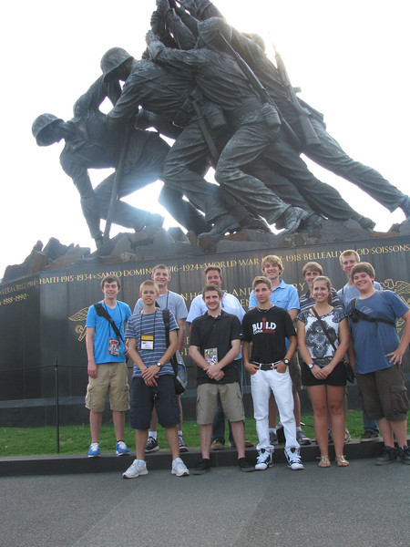 Dist. 2, 4 and 6'ers in front of the Iwo Jima statue: Jon, Nick, Cabot, Luke, chris, Ian (front) Peter, chris, Connor, Whitney and Dan