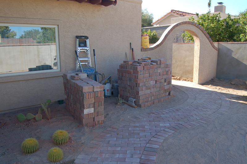 Chris Pullen, the landscaper, moved all the brick from the side yard to here to get it out of the way.