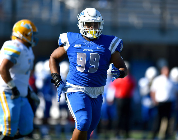 10/26/2019 Mike Orazzi | Staff CCSU's Derrick Miller, Jr. (99) during Saturday's football game with Long Island University in New Britain.