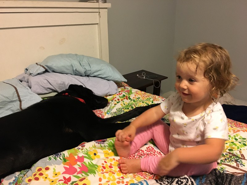 Baby Teagan and Knight getting ready for bed.