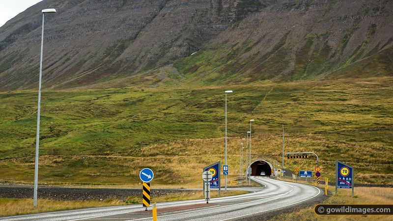 Entry to the 7km tunnel near Ólafsfjörður in the North of the country