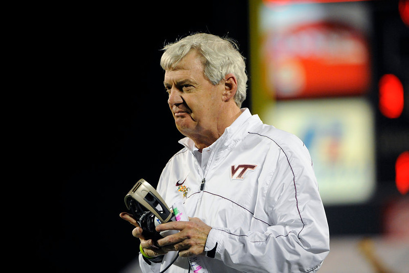 . Virginia Tech head coach Frank Beamer looks on from the sidelines during the third quarter of an NCAA college football Russell Athletic Bowl game against Rutgers, Friday, Dec. 28, 2012, in Orlando, Fla. (AP Photo/Brian Blanco)