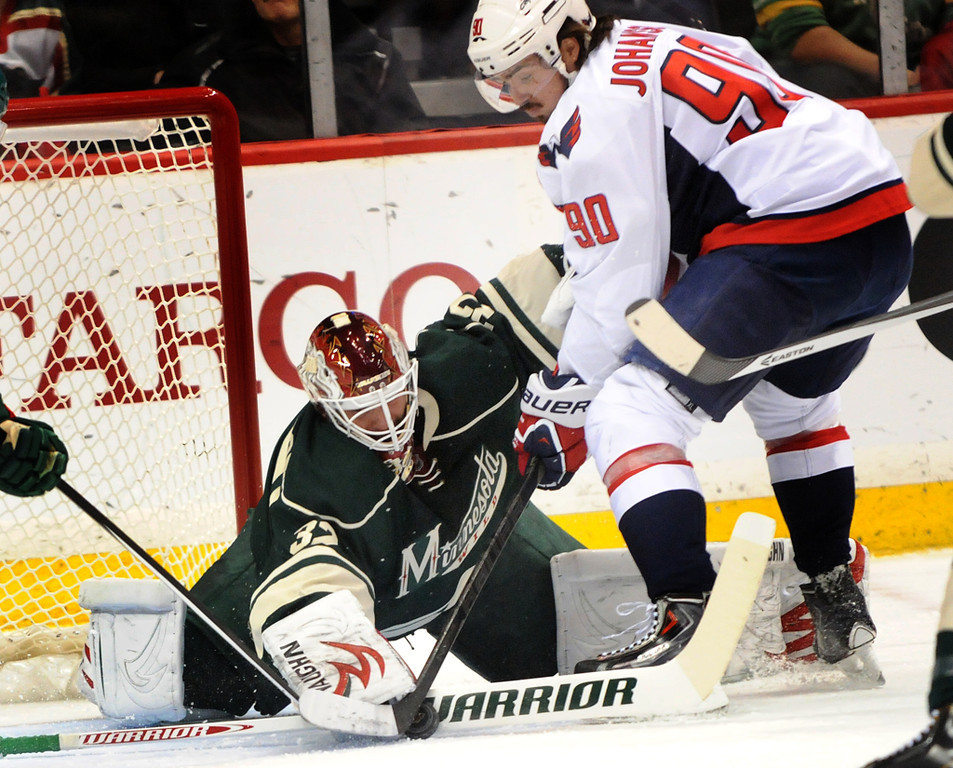 . Minnesota Wild goalie Niklas Backstrom deflects a puck as he battle with Washington Capitals center Marcus Johansson during the first period.(Pioneer Press: Sherri LaRose-Chiglo)