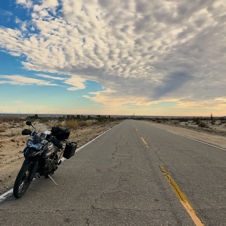 Fuzzygalore Riding a Tiger 800 in the California Desert