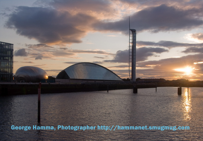 The Glasgow IMax (egg-like building) at the Glasgow Science Center and Glasgow Tower across the River Clyde from the Armadillo (Clyde Auditorium).