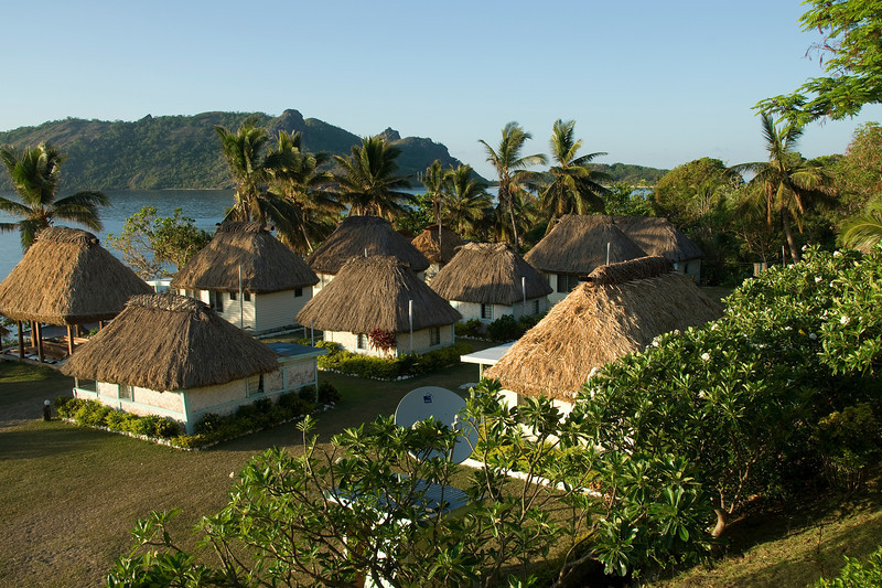 View of huts in a beach resort in Yasawa Islands, Fiji