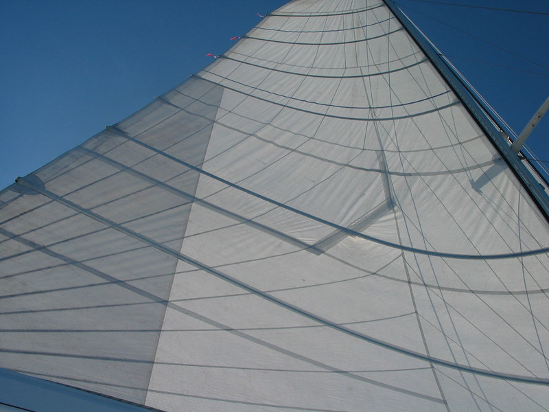 You can see the repairs to our  mainsail, sailing from Bora Bora to Hawaii