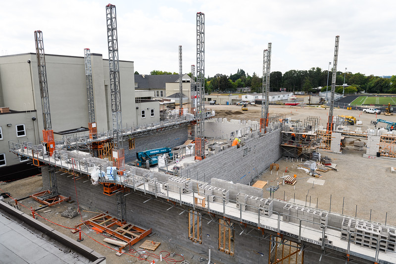 Concrete masonry unit (CMU) being constructed at North Salem High School on Friday, August 16, 2019, in Salem, Ore.