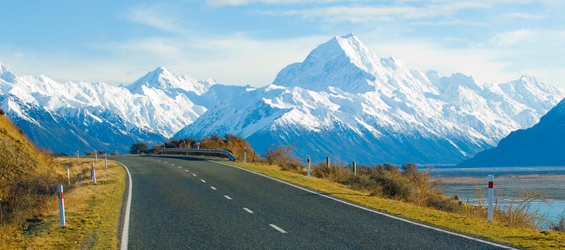 The alpine road to Mount Cook in the Southern Alps, New Zealands highest peak.