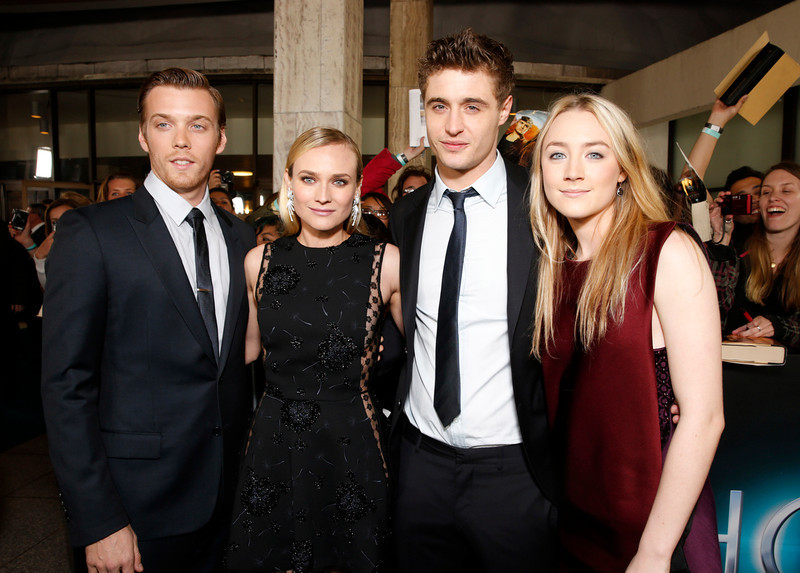 """. Jake Abel, Diane Kruger, Max Irons and Saoirse Ronan arrive at the LA premiere of \""""The Host\"""" at the ArcLight Hollywood on Tuesday, March 19, 2013 in Los Angeles. (Photo by Todd Williamson/Invision/AP)"""