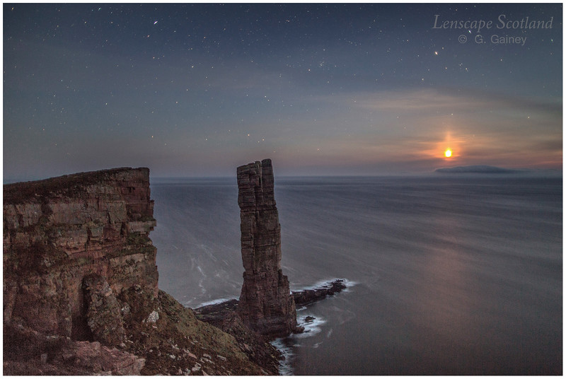 Old Man of Hoy, Orkney, with setting moon