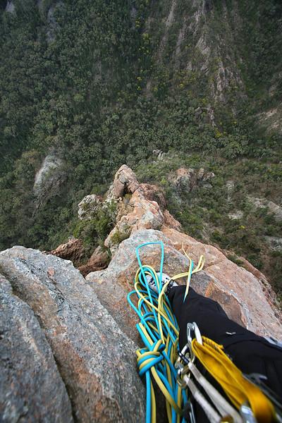 Half way up Corner Stone Rib, Crater Bluff. Trent and Andys Warrumbungles rockclimbing trip 2009.