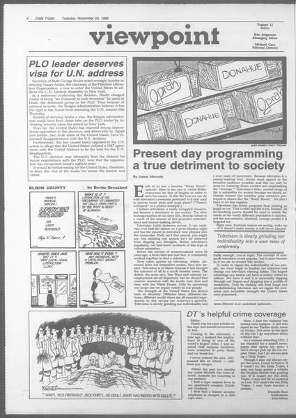Daily Trojan, Vol. 107, No. 56, November 29, 1988