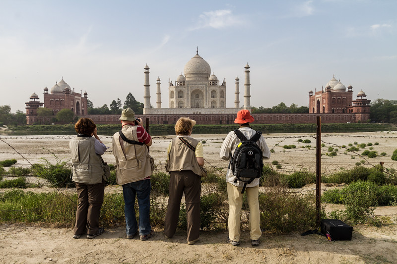 Four Photographers Line Up For Pictures Of The Taj Mahal From Across The Yamuna River, Agra India, Asia