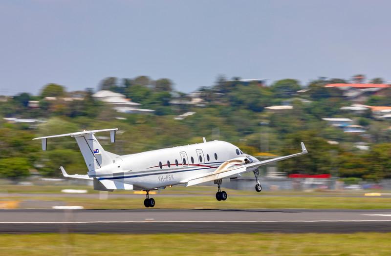 QPS Beech 1900D VH-PSK Landing at Rockhampton Airport conducting a detainee transfer from Brisbane 21-01-19.