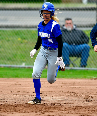 5/1/2019 Mike Orazzi | Staff Bristol Eastern's Zoe Lowe (8) during Wednesday's softball game with Bristol Central at Casey Field.
