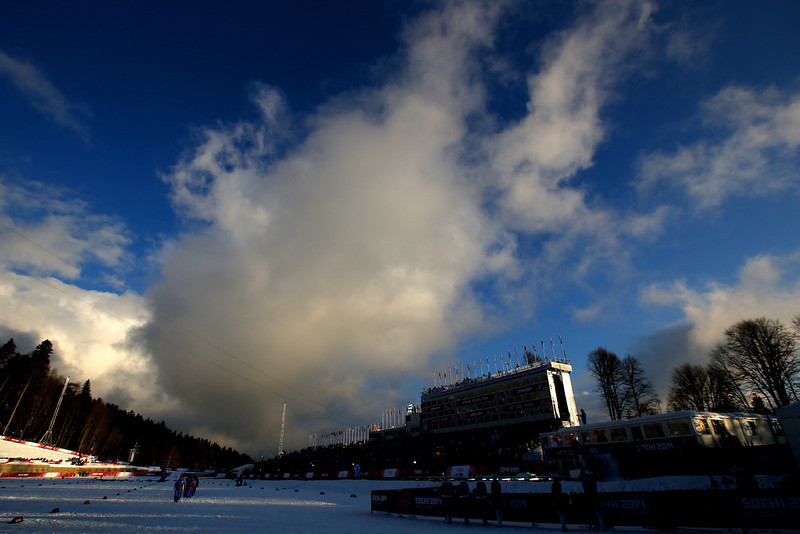 . The flower ceremony is held for the Finals of the Ladies\' Sprint Free during day four of the Sochi 2014 Winter Olympics at Laura Cross-country Ski & Biathlon Center on February 11, 2014 in Sochi, Russia.  (Photo by Doug Pensinger/Getty Images)