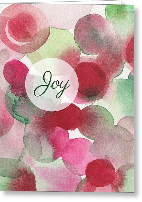 Red Green Fuchsia Chic Glam Abstract Art Holiday Greeting Card by artist Beverly Brown