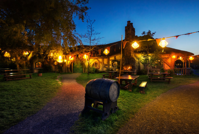 Hobbiton And The Green Dragon Pub In The Evening
