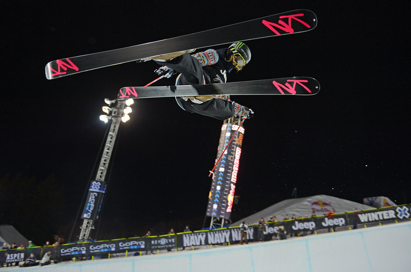 . ASPEN, CO. - JANUARY 25:  Brita Sigourney during the Women\'s Ski SuperPipe Final, January 25, 2013, at the 2013 Winter X Games at Buttermilk Mountain in Aspen. (Photo By RJ Sangosti / The Denver Post)