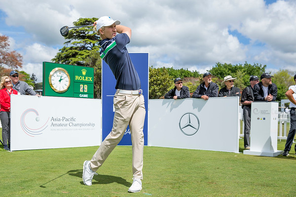 Travis Smyth from Australia hitting off the 1st tee on Day 1 of competition in the Asia-Pacific Amateur Championship tournament 2017 held at Royal Wellington Golf Club, in Heretaunga, Upper Hutt, New Zealand from 26 - 29 October 2017. Copyright John Mathews 2017.   www.megasportmedia.co.nz