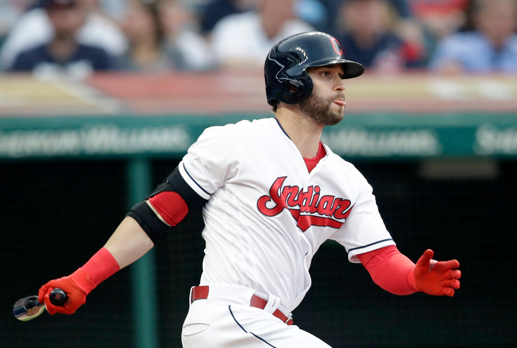 . Cleveland Indians\' Tyler Naquin grounds into a fielders choice in the fifth inning of a baseball game against the Minnesota Twins, Friday, June 15, 2018, in Cleveland. (AP Photo/Tony Dejak)