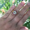 3.12ct Old European Cut Diamond Ruby Halo Ring, GIA L  28