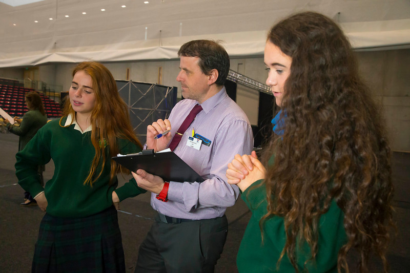 "01/05/2018. SciFest at WIT (Waterford Institute of Technology) at the Arena. Pictured are Eva Mooney and Becca Bawden with their project ""Say Yes To Shugar Free"", also pictured is Judge Nick McCarthy. Picture: Patrick Browne"