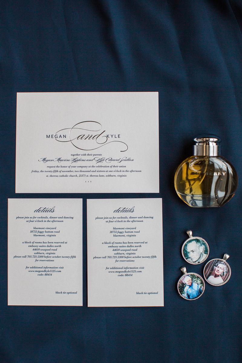 Wedding invitations from Meg and Kyle's Bluemont Vineyard wedding. Images by top Washington DC wedding photographer Jalapeno Photography. The Catholic wedding ceremony was at St. Theresa Catholic Church in Ashburn, VA.