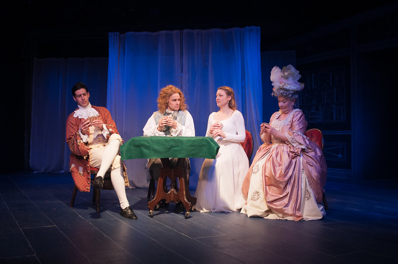 Brendan Cataldo, Oliver Wadsworth (Voltaire), Kim Stauffer (Emilie) and Joan Coombs. Photo by Enrico Spada.