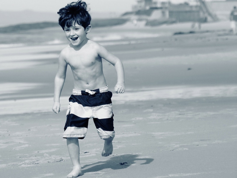 Geno runs on the beach.  What a happy boy.