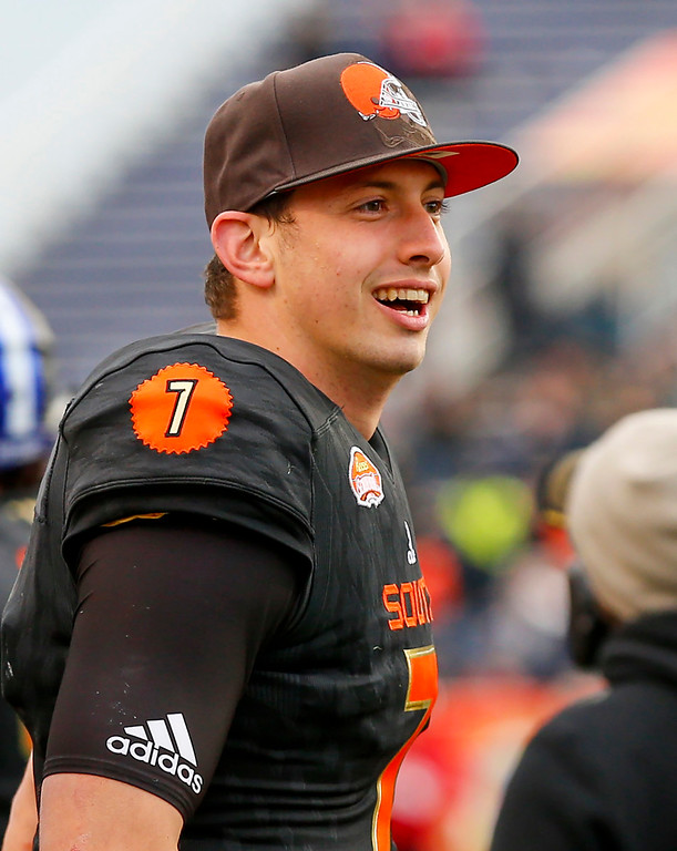 . South squad quarterback Davis Webb of California (7) reacts to his team stopping the North squad from scoring a two point conversion allowing the South to hold on and win 16-15 during the second half of the Senior Bowl NCAA college football game, Saturday, Jan. 28, 2017, at Ladd-Peebles Stadium in Mobile, Ala. (AP Photo/Butch Dill)