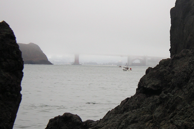 A look back at the bridge.  The fog never budged.