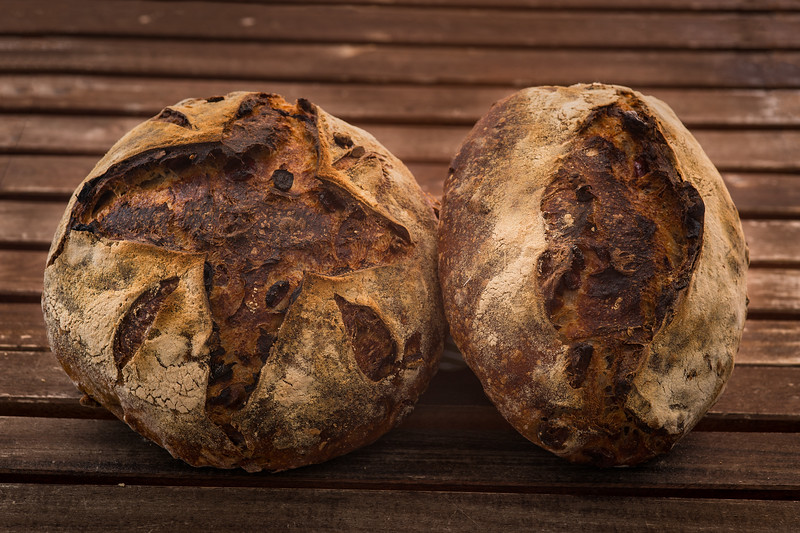 The finished product! My boule and Batard of Cranberry Pecan Sourdough bread!