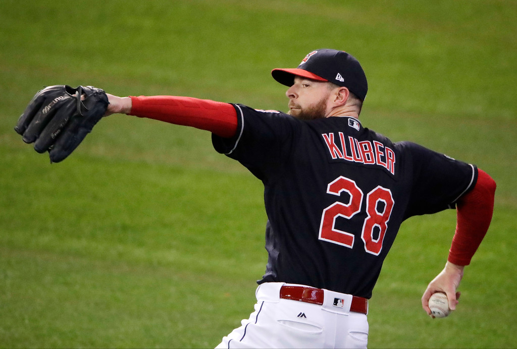 . Cleveland Indians starting pitcher Corey Kluber warms up before Game 1 of baseball\'s American League Championship Series against the Toronto Blue Jays in Cleveland, Friday, Oct. 14, 2016. (AP Photo/Charlie Riedel)