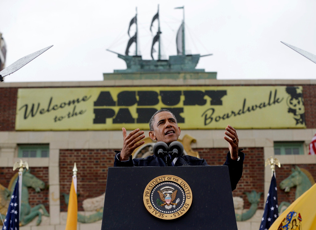 . President Barack Obama gestures as he speak outside at Asbury Park Convention Hall ,Tuesday, May 28, 2013 in Asbury Park, New Jersey. (AP Photo/Pablo Martinez Monsivais)