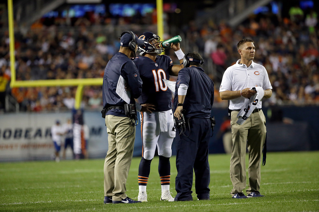 . Chicago Bears quarterback Mitchell Trubisky (10) takes a drink between plays during the second half of an NFL preseason football game against the Denver Broncos, Thursday, Aug. 10, 2017, in Chicago. (AP Photo/Nam Y. Huh)