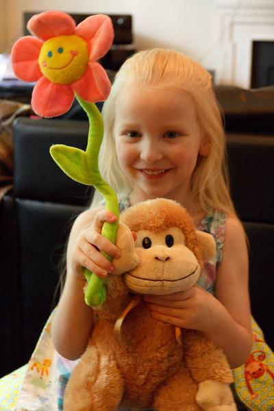 Chloe loves the monkey from Grandma Pam - May 2011