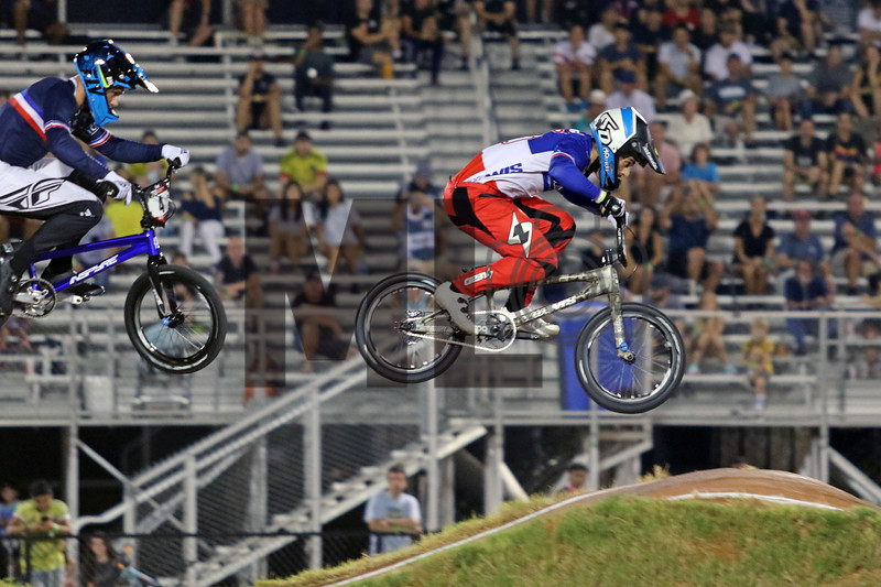 Sylvain Andre (3) of France races at the UCI BMX Supercross World Cup Round 8 at Rock Hill, S.C., on Saturday, Sept. 14, 2019.